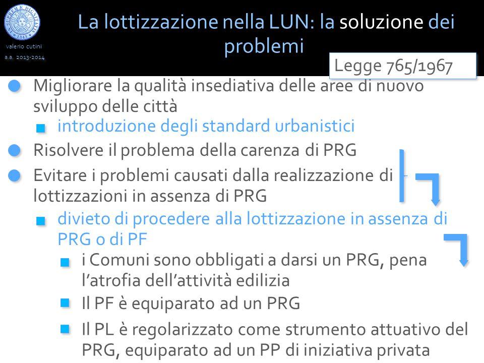 valerio cutini a.a. 2013-2014 Migliorare la qualità insediativa delle aree di nuovo sviluppo delle città La lottizzazione nella LUN: la soluzione dei