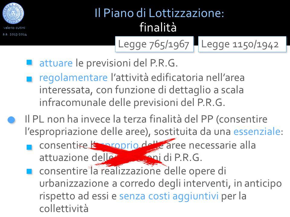 valerio cutini Il Piano di Lottizzazione: finalità a.a. 2013-2014 Legge 1150/1942 Il PL non ha invece la terza finalità del PP (consentire l'espropria