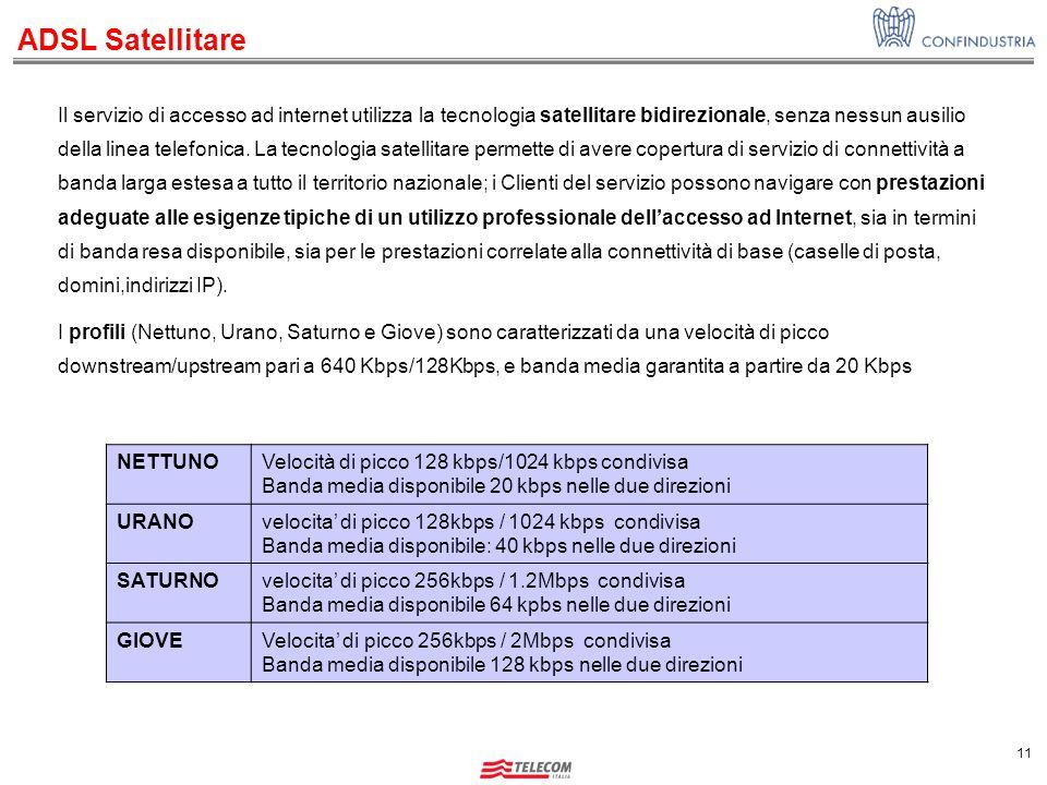 11 Il servizio di accesso ad internet utilizza la tecnologia satellitare bidirezionale, senza nessun ausilio della linea telefonica.