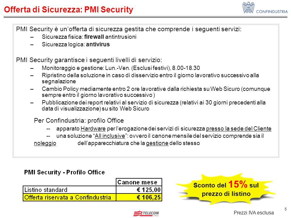 5 Offerta di Sicurezza: PMI Security PMI Security è un'offerta di sicurezza gestita che comprende i seguenti servizi: –Sicurezza fisica: firewall anti
