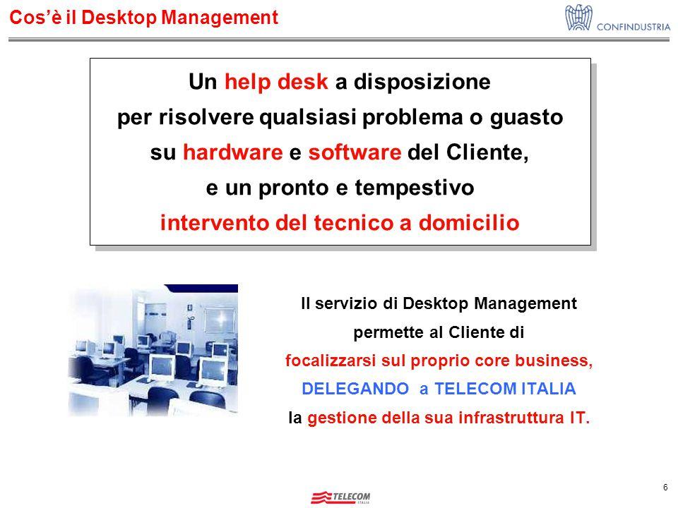 6 Cos'è il Desktop Management Il servizio di Desktop Management permette al Cliente di focalizzarsi sul proprio core business, DELEGANDO a TELECOM ITALIA la gestione della sua infrastruttura IT.