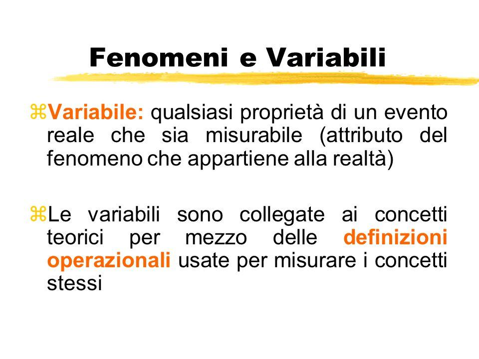 Fenomeni e Variabili zVariabile: qualsiasi proprietà di un evento reale che sia misurabile (attributo del fenomeno che appartiene alla realtà) zLe var