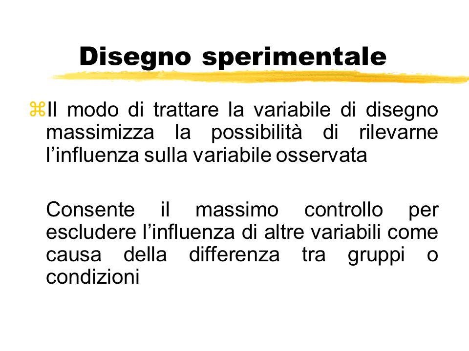Disegno sperimentale zIl modo di trattare la variabile di disegno massimizza la possibilità di rilevarne l'influenza sulla variabile osservata Consent