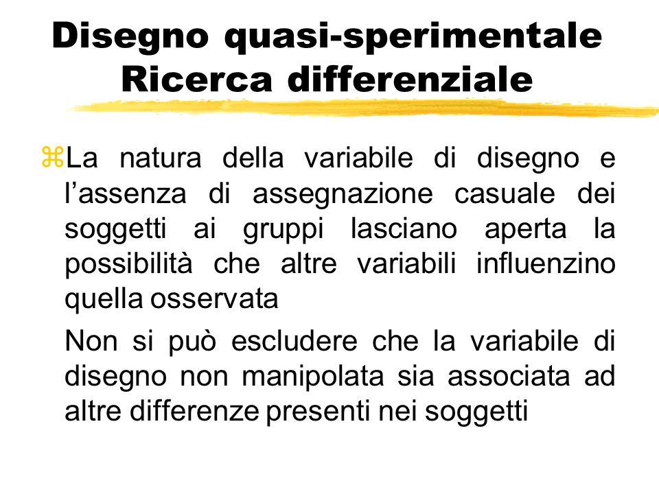 Disegno quasi-sperimentale Ricerca differenziale zLa natura della variabile di disegno e l'assenza di assegnazione casuale dei soggetti ai gruppi lasc