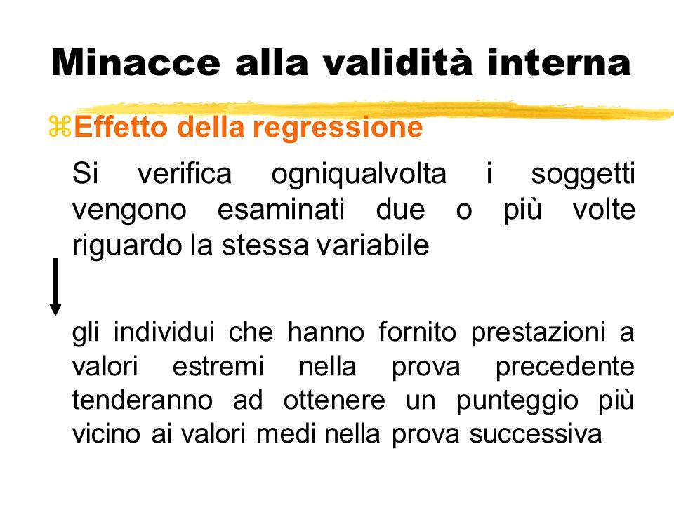 Minacce alla validità interna zEffetto della regressione Si verifica ogniqualvolta i soggetti vengono esaminati due o più volte riguardo la stessa var