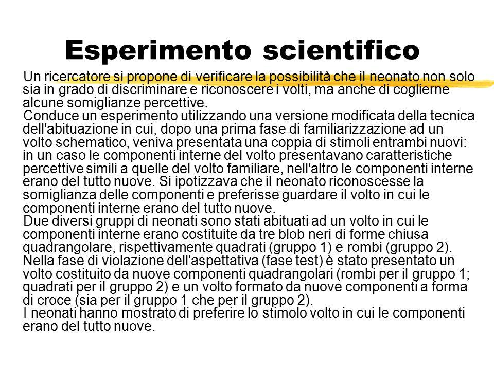 Esperimento scientifico Un ricercatore si propone di verificare la possibilità che il neonato non solo sia in grado di discriminare e riconoscere i vo