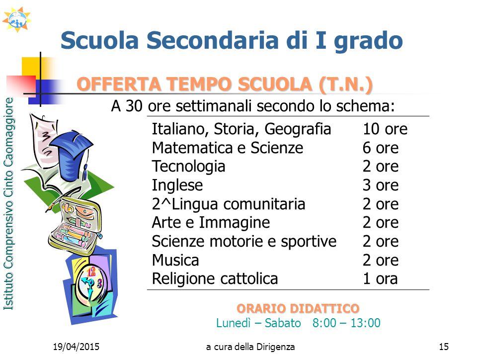 Istituto Comprensivo Cinto Caomaggiore 19/04/201515 OFFERTA TEMPO SCUOLA (T.N.) A 30 ore settimanali secondo lo schema: Scuola Secondaria di I grado O