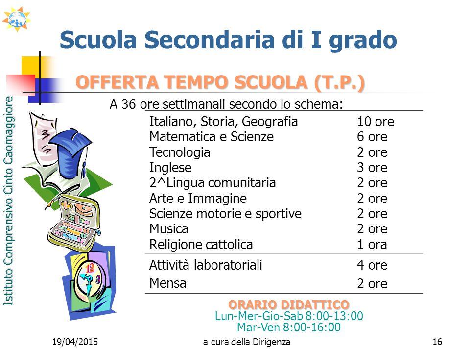 Istituto Comprensivo Cinto Caomaggiore 19/04/201516 OFFERTA TEMPO SCUOLA (T.P.) A 36 ore settimanali secondo lo schema: Scuola Secondaria di I grado I
