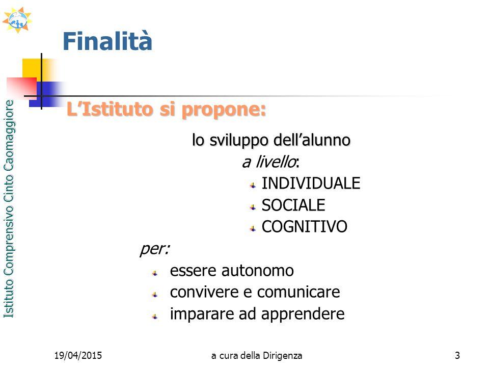 Istituto Comprensivo Cinto Caomaggiore 19/04/20153 Finalità L'Istituto si propone: lo sviluppo dell'alunno a livello: INDIVIDUALE SOCIALE COGNITIVO pe