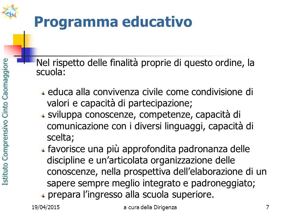 Istituto Comprensivo Cinto Caomaggiore 19/04/20157 Programma educativo educa alla convivenza civile come condivisione di valori e capacità di partecip