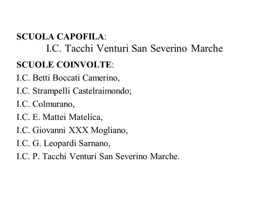 SCUOLA CAPOFILA: I.C. Tacchi Venturi San Severino Marche SCUOLE COINVOLTE: I.C.
