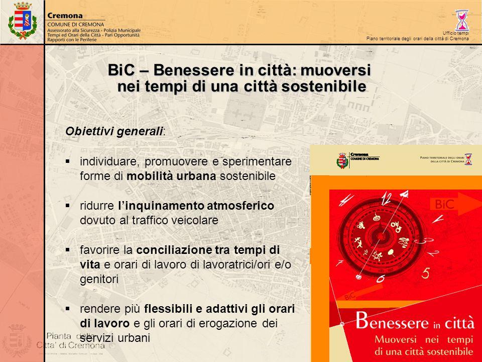 Ufficio tempi Piano territoriale degli orari della città di Cremona BiC – Benessere in città: muoversi nei tempi di una città sostenibile Obiettivi ge