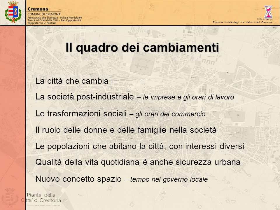 Ufficio tempi Piano territoriale degli orari della città di Cremona La città che cambia La società post-industriale – le imprese e gli orari di lavoro