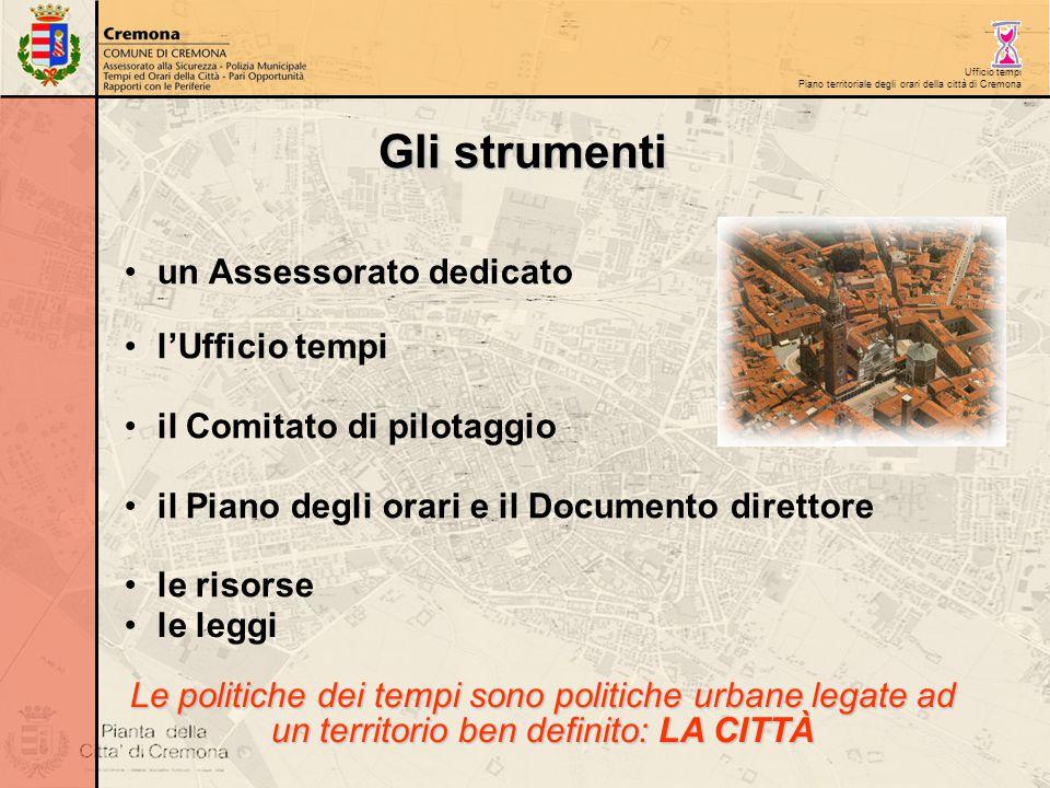 Ufficio tempi Piano territoriale degli orari della città di Cremona un Assessorato dedicato l'Ufficio tempi il Comitato di pilotaggio il Piano degli o