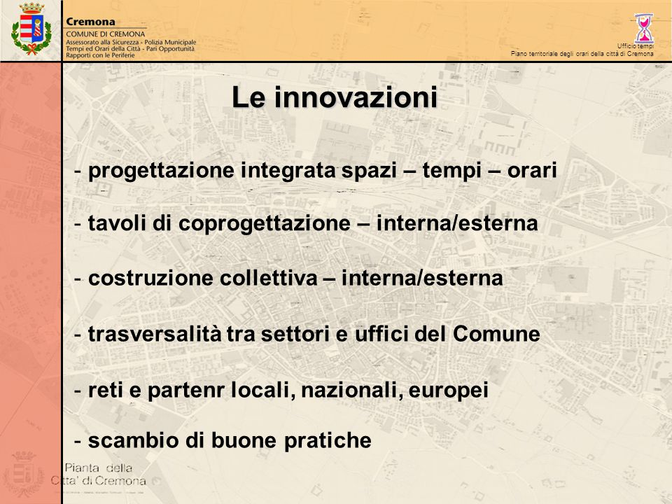 Ufficio tempi Piano territoriale degli orari della città di Cremona Le innovazioni