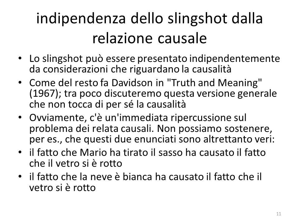 indipendenza dello slingshot dalla relazione causale Lo slingshot può essere presentato indipendentemente da considerazioni che riguardano la causalit