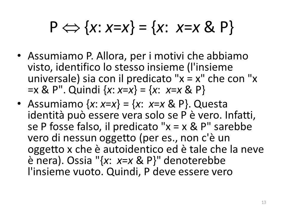 P  {x: x=x} = {x: x=x & P} Assumiamo P. Allora, per i motivi che abbiamo visto, identifico lo stesso insieme (l'insieme universale) sia con il predic