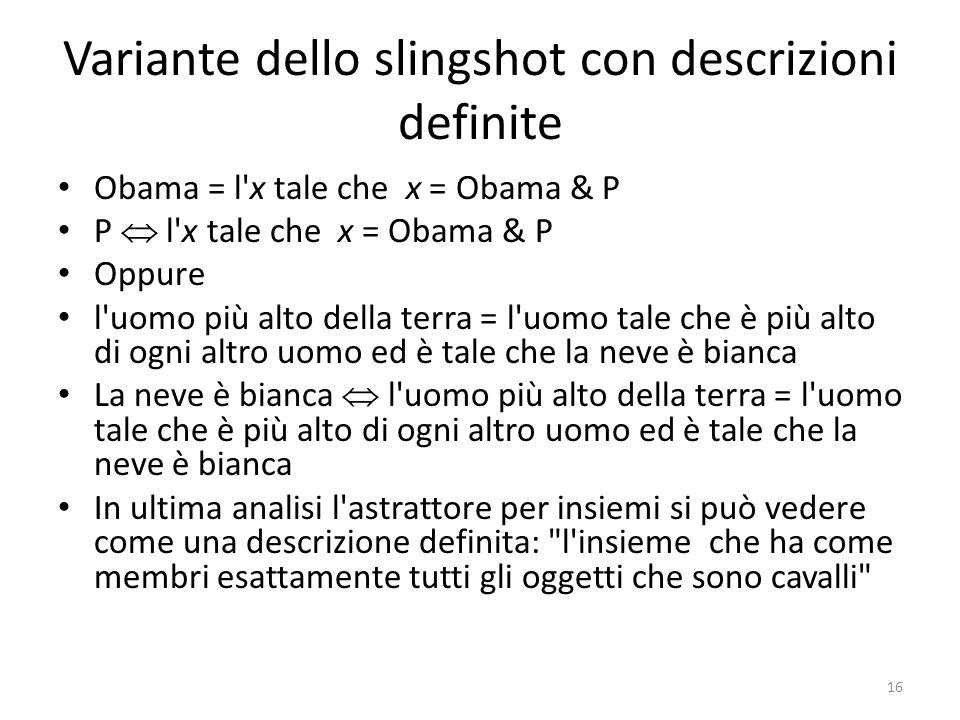 Variante dello slingshot con descrizioni definite Obama = l'x tale che x = Obama & P P  l'x tale che x = Obama & P Oppure l'uomo più alto della terra