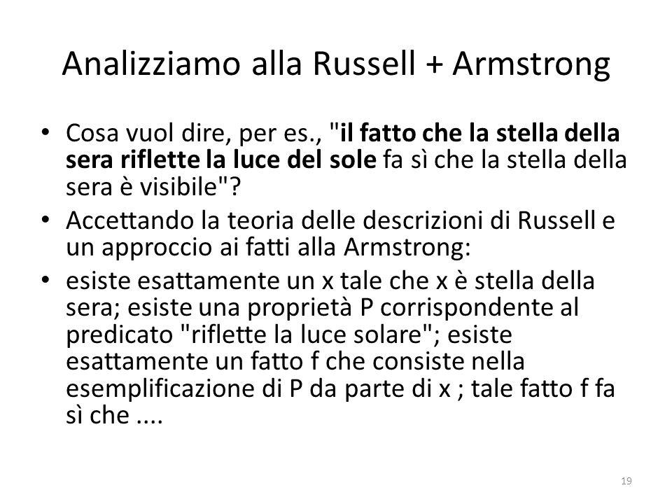 Analizziamo alla Russell + Armstrong Cosa vuol dire, per es., il fatto che la stella della sera riflette la luce del sole fa sì che la stella della sera è visibile .