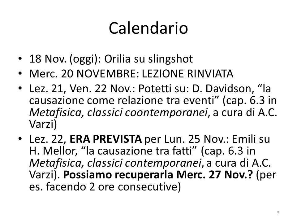 """Calendario 18 Nov. (oggi): Orilia su slingshot Merc. 20 NOVEMBRE: LEZIONE RINVIATA Lez. 21, Ven. 22 Nov.: Potetti su: D. Davidson, """"la causazione come"""
