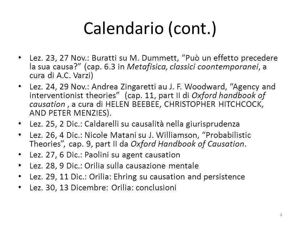 """Calendario (cont.) Lez. 23, 27 Nov.: Buratti su M. Dummett, """"Può un effetto precedere la sua causa?"""" (cap. 6.3 in Metafisica, classici coontemporanei,"""