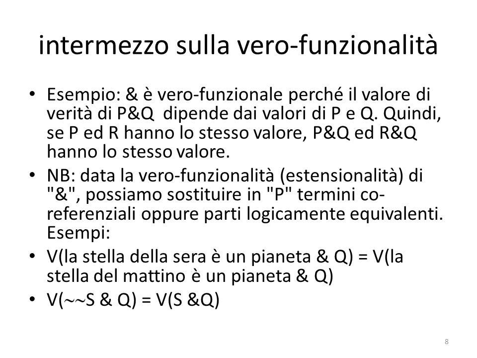 intermezzo sulla vero-funzionalità Esempio: & è vero-funzionale perché il valore di verità di P&Q dipende dai valori di P e Q. Quindi, se P ed R hanno