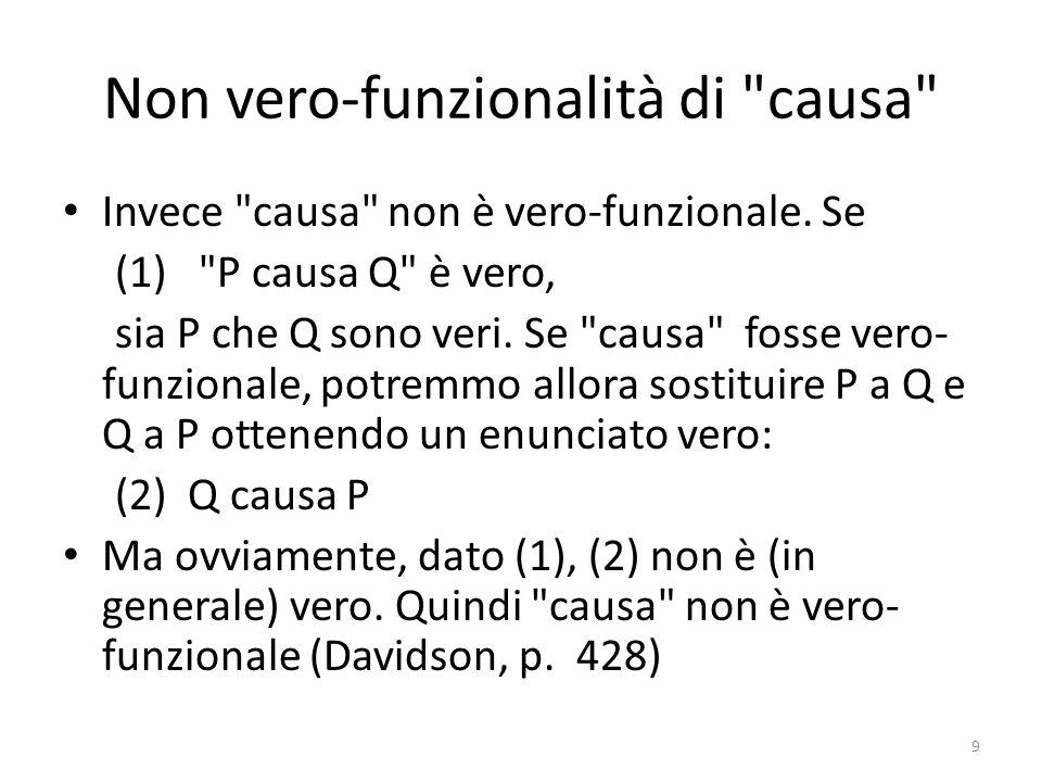 Non vero-funzionalità di causa Invece causa non è vero-funzionale.