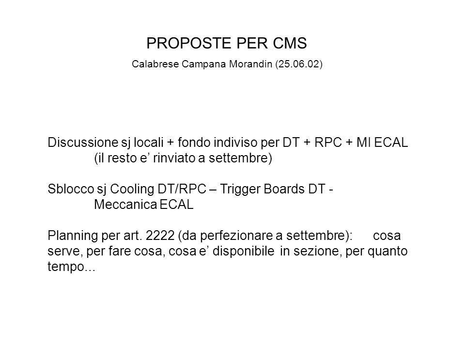 PROPOSTE PER CMS Calabrese Campana Morandin (25.06.02) Discussione sj locali + fondo indiviso per DT + RPC + MI ECAL (il resto e' rinviato a settembre) Sblocco sj Cooling DT/RPC – Trigger Boards DT - Meccanica ECAL Planning per art.