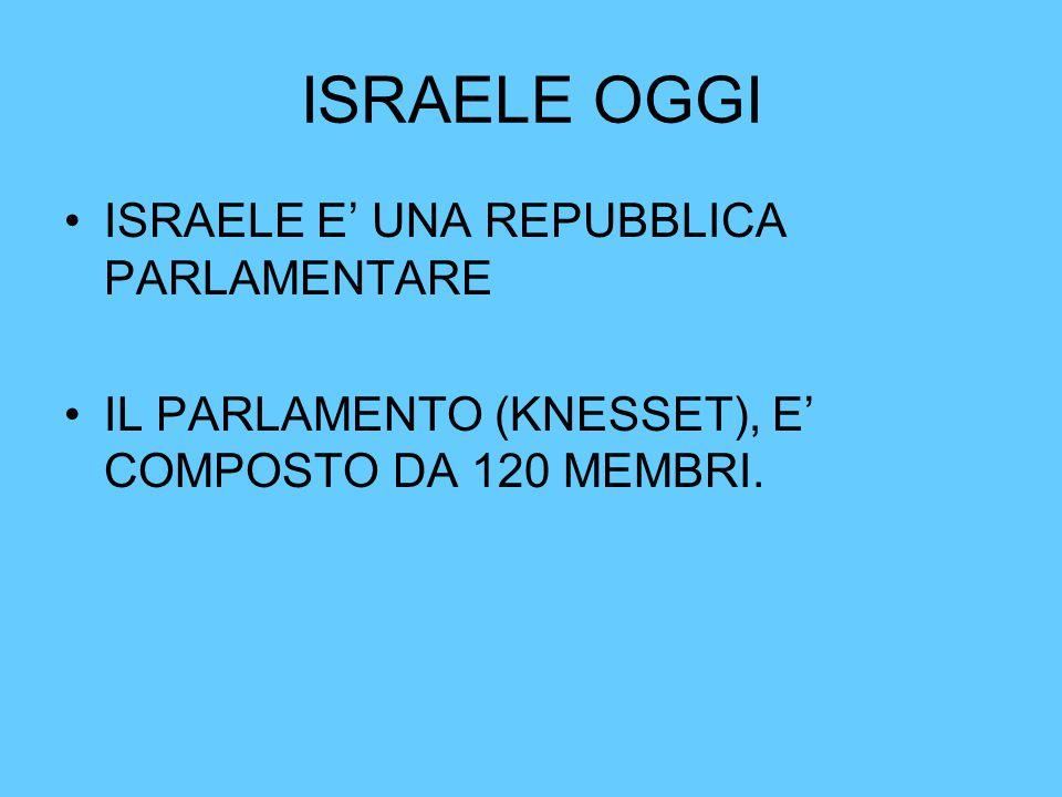 ISRAELE OGGI ISRAELE E' UNA REPUBBLICA PARLAMENTARE IL PARLAMENTO (KNESSET), E' COMPOSTO DA 120 MEMBRI.