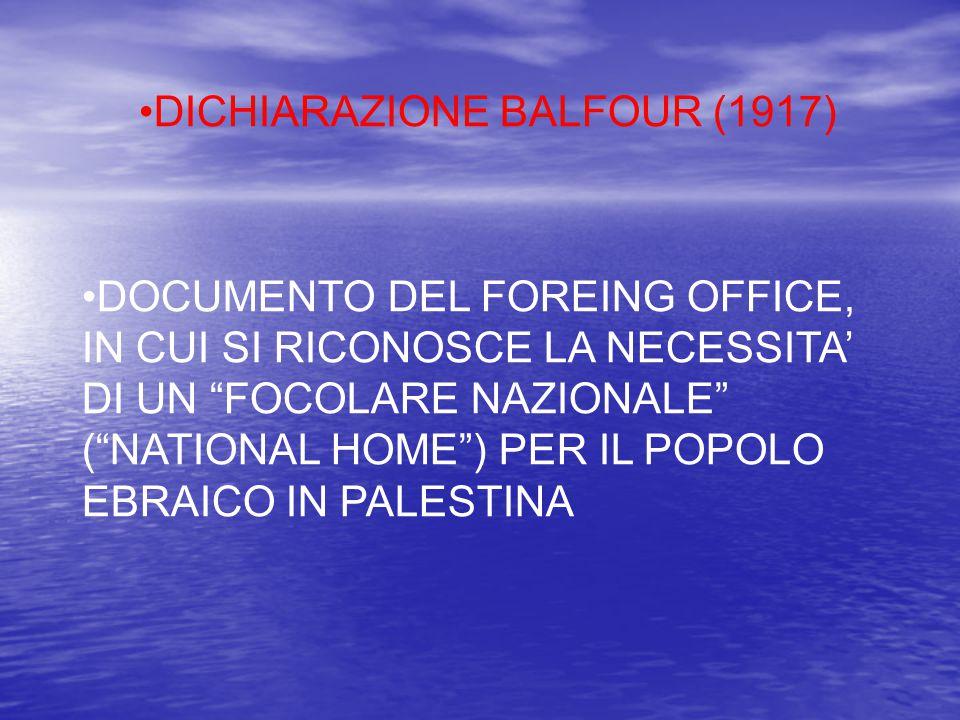 """DICHIARAZIONE BALFOUR (1917) DOCUMENTO DEL FOREING OFFICE, IN CUI SI RICONOSCE LA NECESSITA' DI UN """"FOCOLARE NAZIONALE"""" (""""NATIONAL HOME"""") PER IL POPOL"""
