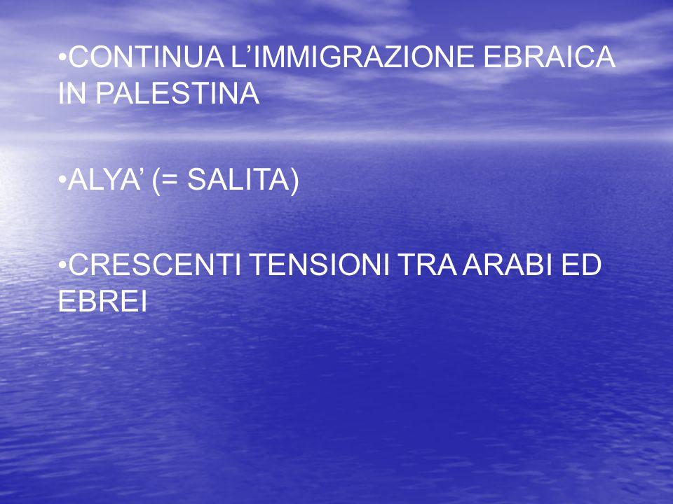 CONTINUA L'IMMIGRAZIONE EBRAICA IN PALESTINA ALYA' (= SALITA) CRESCENTI TENSIONI TRA ARABI ED EBREI