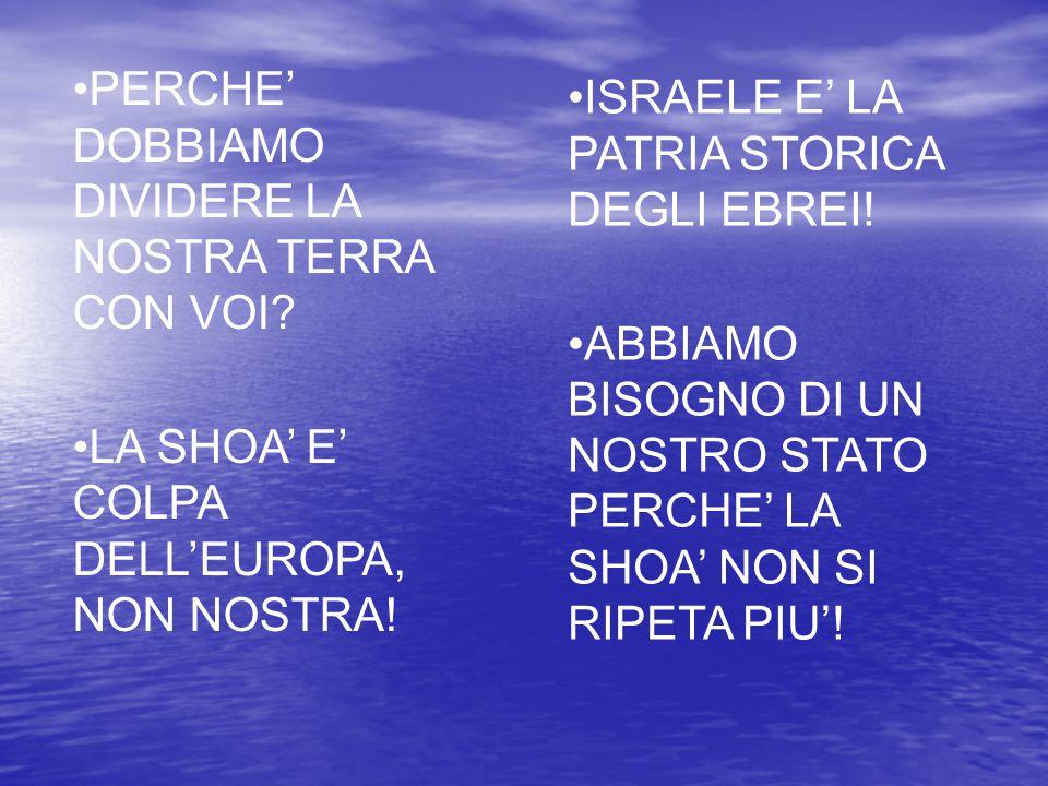 PERCHE' DOBBIAMO DIVIDERE LA NOSTRA TERRA CON VOI? LA SHOA' E' COLPA DELL'EUROPA, NON NOSTRA! ISRAELE E' LA PATRIA STORICA DEGLI EBREI! ABBIAMO BISOGN