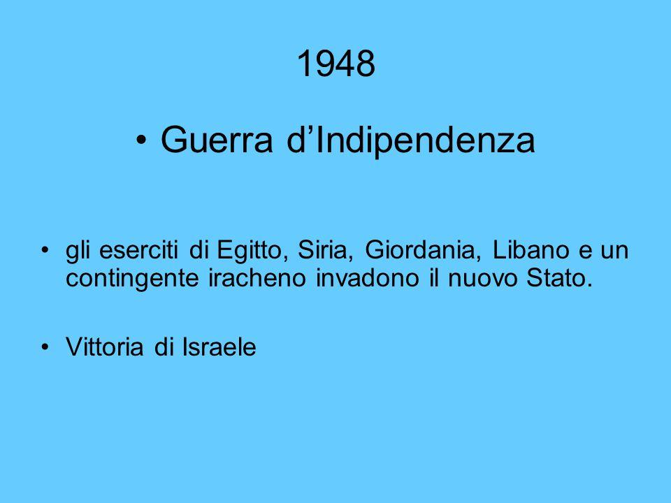1948 Guerra d'Indipendenza gli eserciti di Egitto, Siria, Giordania, Libano e un contingente iracheno invadono il nuovo Stato. Vittoria di Israele