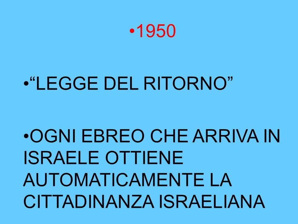 """1950 """"LEGGE DEL RITORNO"""" OGNI EBREO CHE ARRIVA IN ISRAELE OTTIENE AUTOMATICAMENTE LA CITTADINANZA ISRAELIANA"""