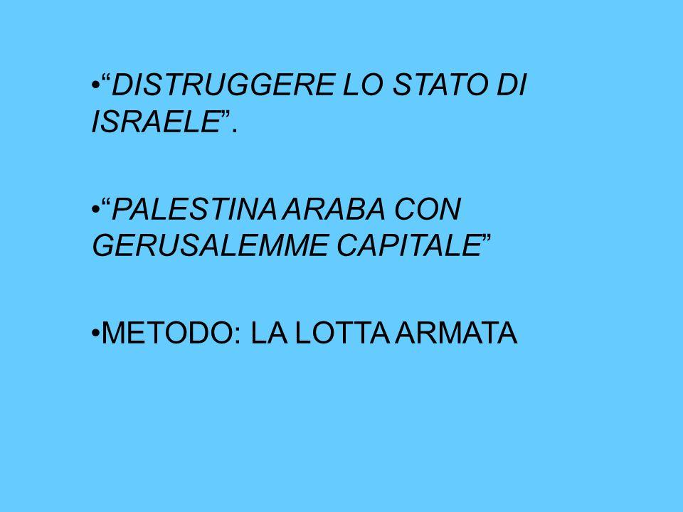 """""""DISTRUGGERE LO STATO DI ISRAELE"""". """"PALESTINA ARABA CON GERUSALEMME CAPITALE"""" METODO: LA LOTTA ARMATA"""