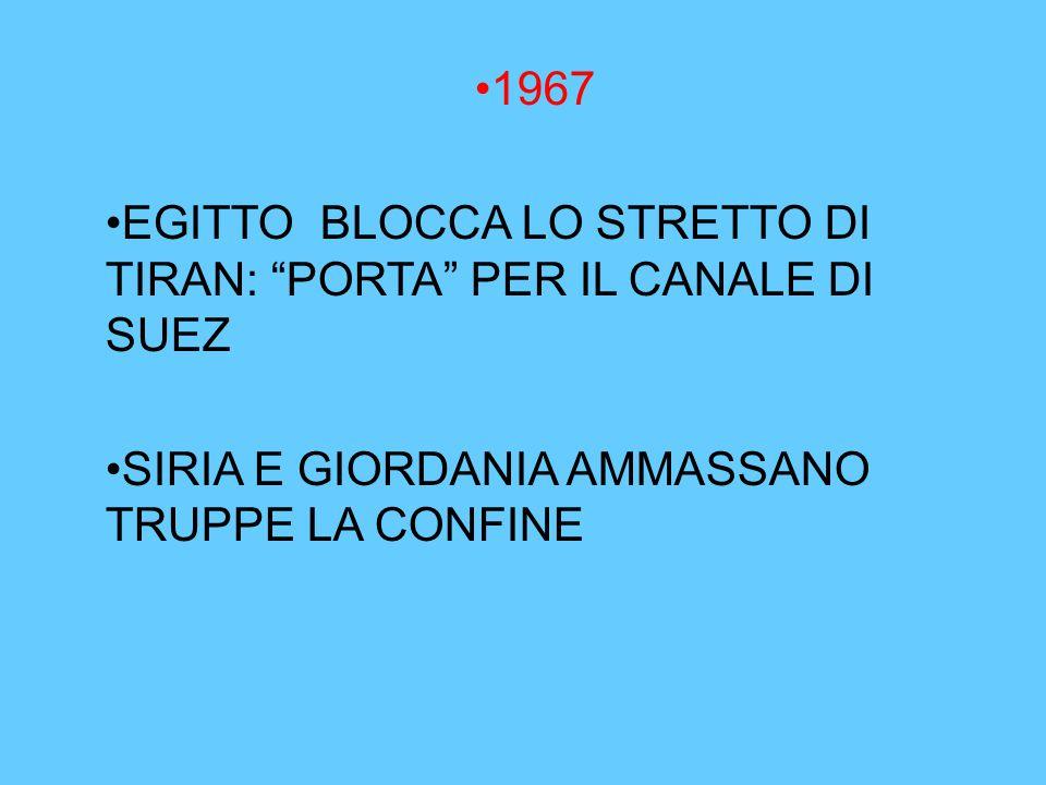 """1967 EGITTO BLOCCA LO STRETTO DI TIRAN: """"PORTA"""" PER IL CANALE DI SUEZ SIRIA E GIORDANIA AMMASSANO TRUPPE LA CONFINE"""