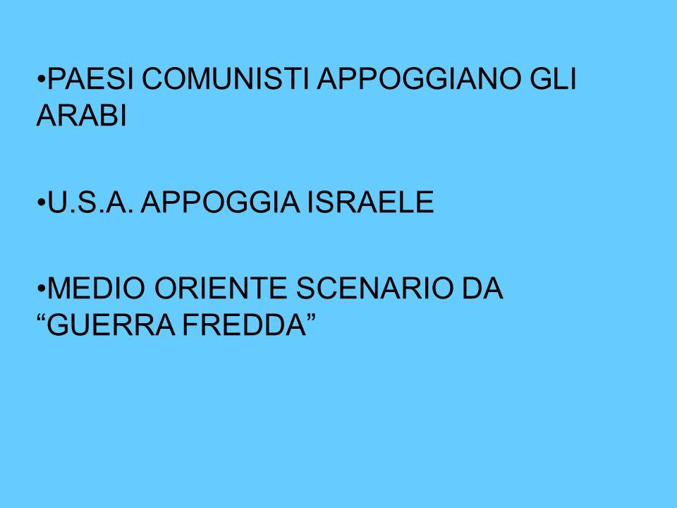 """PAESI COMUNISTI APPOGGIANO GLI ARABI U.S.A. APPOGGIA ISRAELE MEDIO ORIENTE SCENARIO DA """"GUERRA FREDDA"""""""