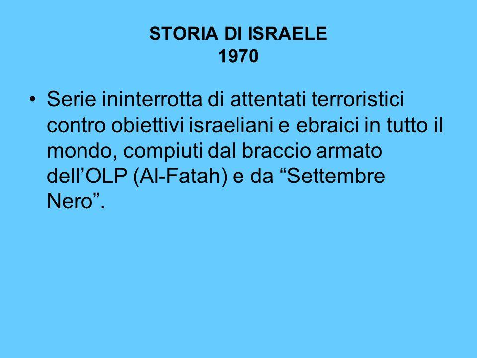 STORIA DI ISRAELE 1970 Serie ininterrotta di attentati terroristici contro obiettivi israeliani e ebraici in tutto il mondo, compiuti dal braccio arma