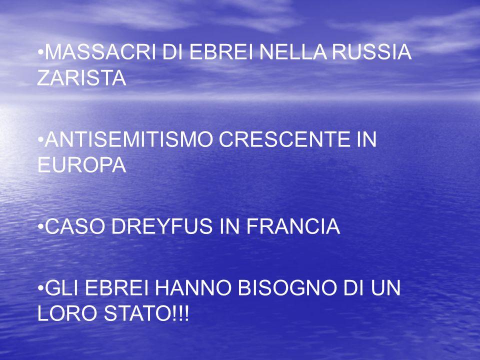 MASSACRI DI EBREI NELLA RUSSIA ZARISTA ANTISEMITISMO CRESCENTE IN EUROPA CASO DREYFUS IN FRANCIA GLI EBREI HANNO BISOGNO DI UN LORO STATO!!!