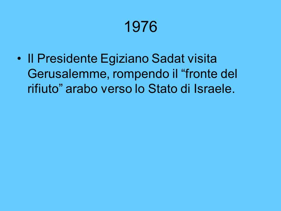 """1976 Il Presidente Egiziano Sadat visita Gerusalemme, rompendo il """"fronte del rifiuto"""" arabo verso lo Stato di Israele."""