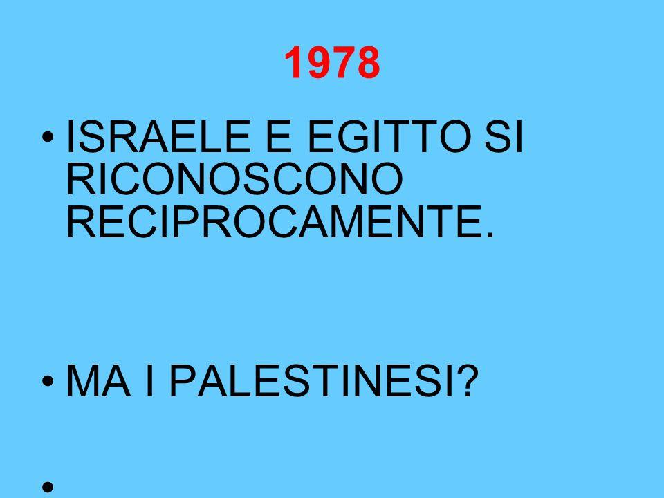ISRAELE E EGITTO SI RICONOSCONO RECIPROCAMENTE. MA I PALESTINESI?