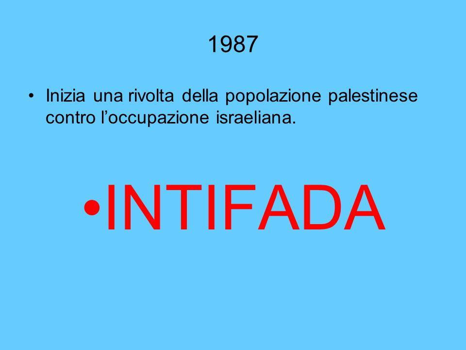 1987 Inizia una rivolta della popolazione palestinese contro l'occupazione israeliana. INTIFADA
