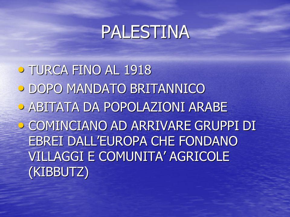 PALESTINA TURCA FINO AL 1918 TURCA FINO AL 1918 DOPO MANDATO BRITANNICO DOPO MANDATO BRITANNICO ABITATA DA POPOLAZIONI ARABE ABITATA DA POPOLAZIONI AR