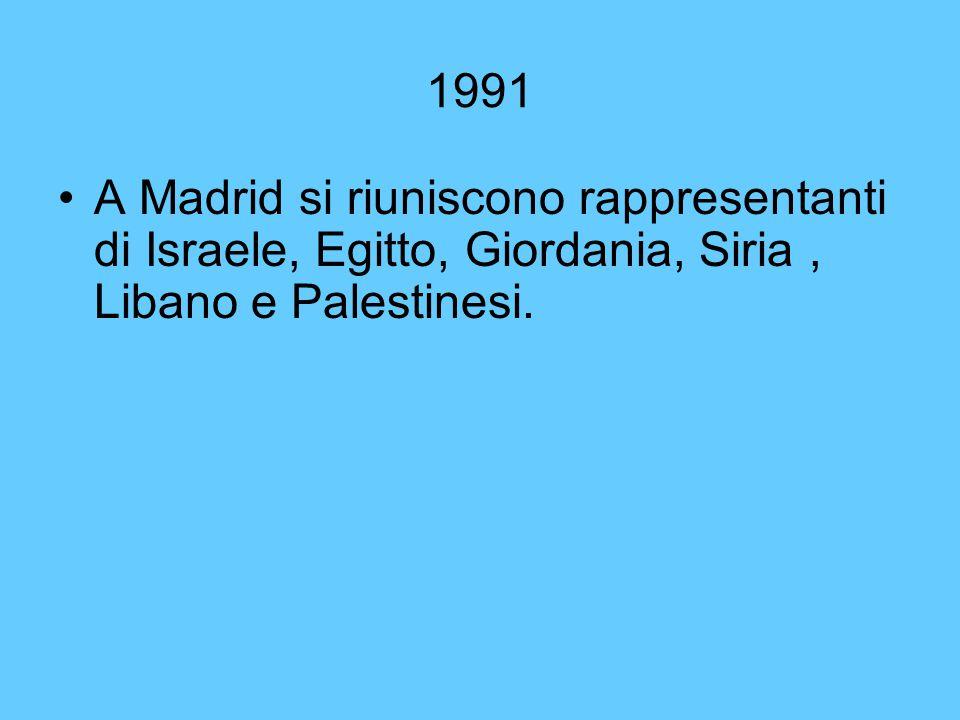 1991 A Madrid si riuniscono rappresentanti di Israele, Egitto, Giordania, Siria, Libano e Palestinesi.