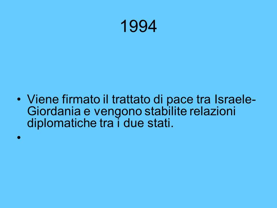1994 Viene firmato il trattato di pace tra Israele- Giordania e vengono stabilite relazioni diplomatiche tra i due stati.