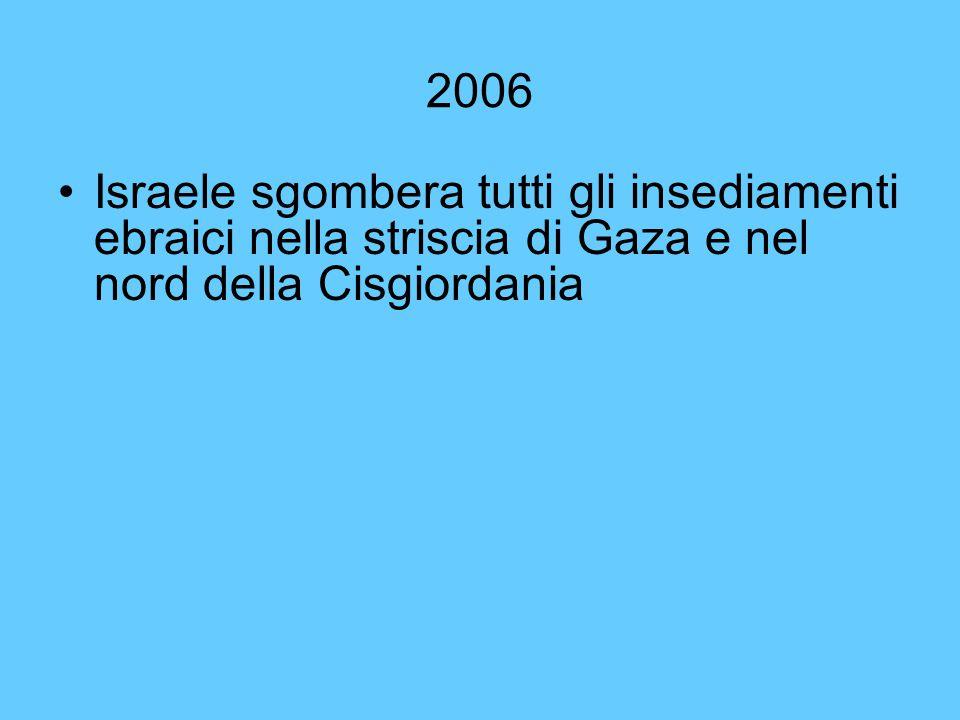 2006 Israele sgombera tutti gli insediamenti ebraici nella striscia di Gaza e nel nord della Cisgiordania