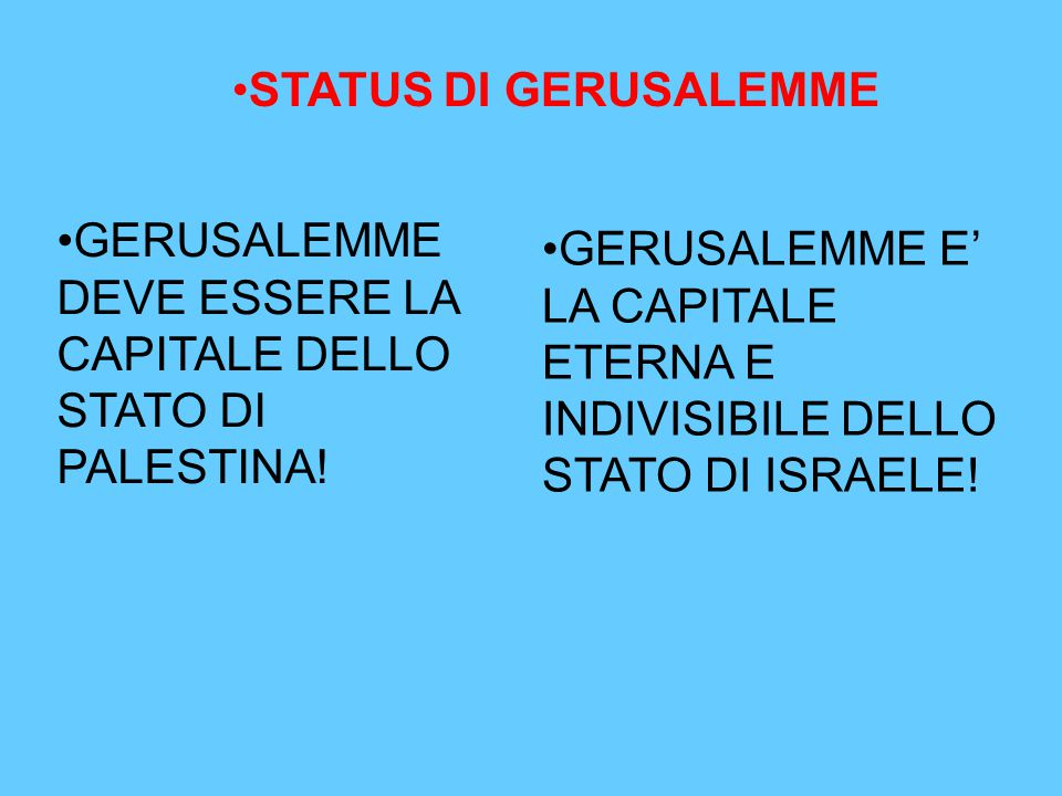 STATUS DI GERUSALEMME GERUSALEMME DEVE ESSERE LA CAPITALE DELLO STATO DI PALESTINA! GERUSALEMME E' LA CAPITALE ETERNA E INDIVISIBILE DELLO STATO DI IS
