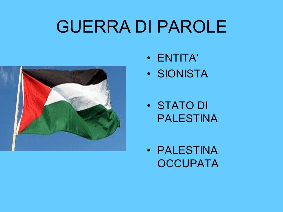 GUERRA DI PAROLE ENTITA' SIONISTA STATO DI PALESTINA PALESTINA OCCUPATA