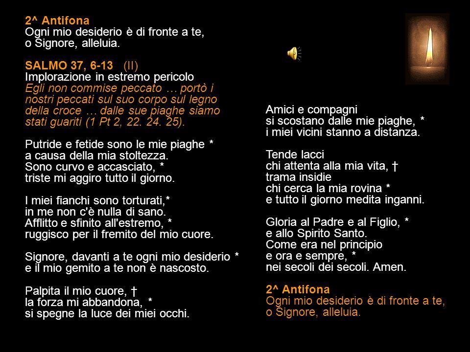 1^ Antifona Non punirmi, Signore, nel tuo sdegno, abbi pietà di me. SALMO 37, 2-5 (I) Implorazione del peccatore in estremo pericolo Egli non commise