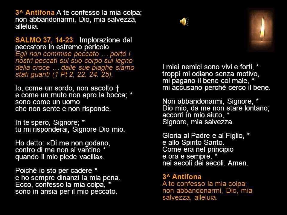 2^ Antifona Ogni mio desiderio è di fronte a te, o Signore, alleluia. SALMO 37, 6-13 (II) Implorazione in estremo pericolo Egli non commise peccato …